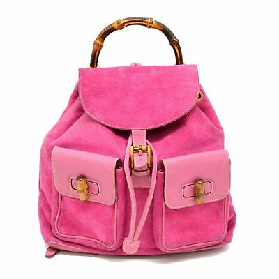 05352b4a702d Authentic Gucci Bamboo Suede Vintage Backpack Daypack Bag Pink Vintage Italy