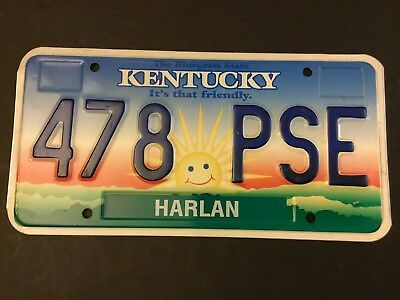 478 PSE= KENTUCKY License Plate Harlan Co.Pre-OWNED FREE US SHIPPING