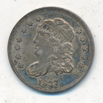 1837 Capped Bust Silver Half Dime-Large 5-Awesome Gently Circulated-Ships Free!