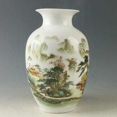 Chinese Porcelain Hand-painted Beautiful Mountains Vase W Qianlong Mark R1194