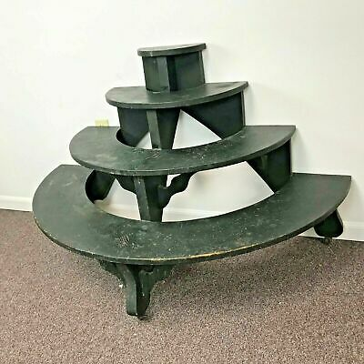 Antique Demi Lune 4 Tiered Plant Stand in Green Paint