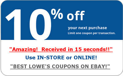 Lowes 10% OFF any purchase! In-Store and Online1Coupon code- 10 seconds Delivery