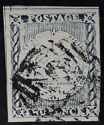 Rare 1850- NSW Australia 2d Blue Imperf Sydney Views stamp No clouds Used