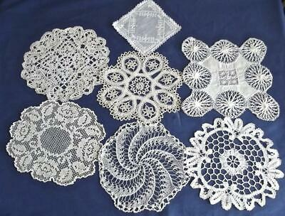7 Antique Chic Coasters & Doilies Lace Sampler Bobbin Tenerife Tatted Crochet