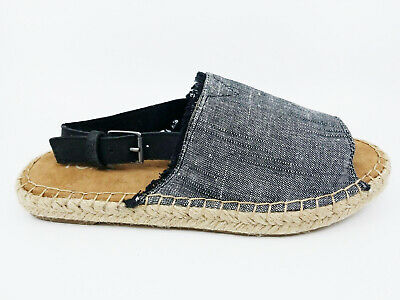 75f407006de Toms Womens Clara Black Texture Chambray Leather Espadrille Flat Shoes Size  6