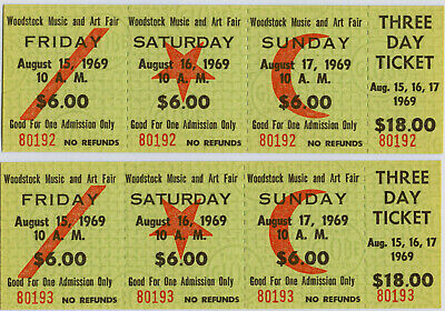 2 Authentic 3-Day Tickets from the Original 1969 Woodstock Festival NR