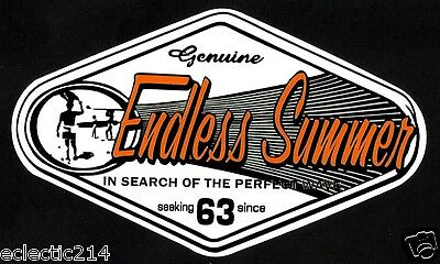 """ENDLESS SUMMER"" Sticker Decal SURFING Longboard Skate Mal D Fin Surf SURFBOARD"