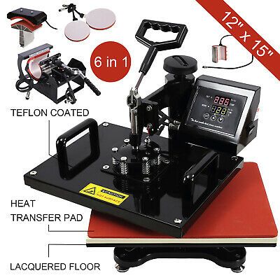 "6IN1 12""X15"" Dual Heat Press Machine Digital Transfer Sublimation Mug T-Shirts"