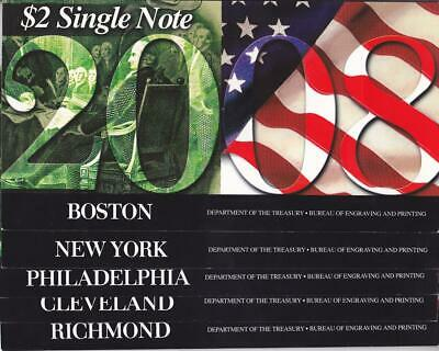 "$2 2003A ""2008"" District  Set of Nine Notes in BEP Folders! $225 Book Value."