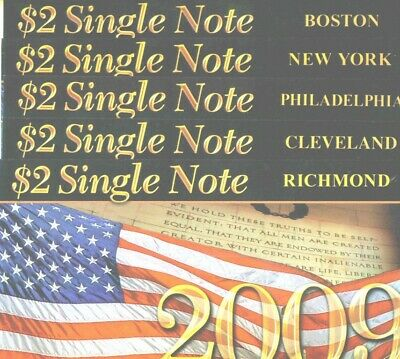 "$2 2003A ""2009"" Full District  Set of Ten Notes in BEP Folders! $250 Book Value."