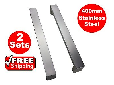 2 X ENTRANCE DOOR HANDLE PULL SET STAINLESS STEEL 400mm LONG SATIN FINISH SQUARE