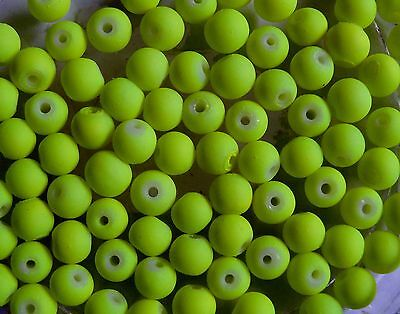 CLEARANCE 100 Neon Bright Yellow Rubberised Glass Round Beads 6mm