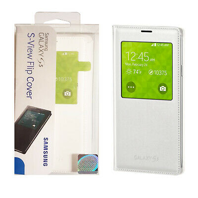 For Samsung Galaxy S5 Samsung OEM S-View Flip Slim Protective Cover Case - White