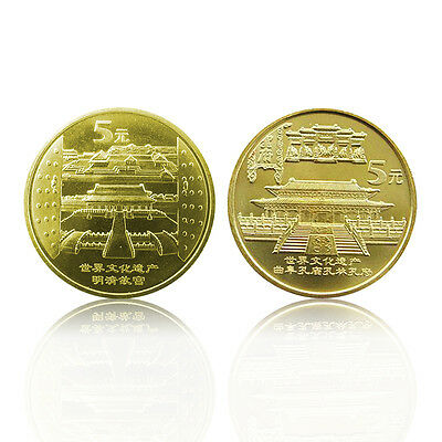 China set 2 coins, 5 Yuan, 2003,UNC> Imperial Palace and Confucian Temple