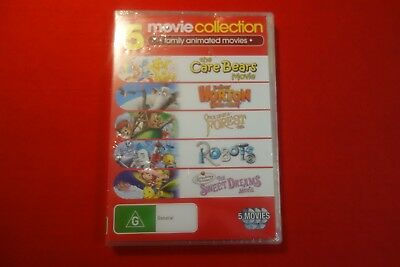 5 Family Animated Movies - Brand New - DVD - Free Postage !!