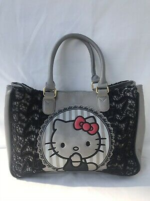 d89cf0c70 Loungefly Hello Kitty Red Bow Black Lace Satchel Grey Bag Purse Sanrio