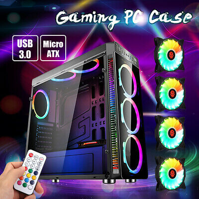 Gaming PC Computer Case ATX Audio Full Tower Chassis USB3.0 + 4 RGB Cooling Fans