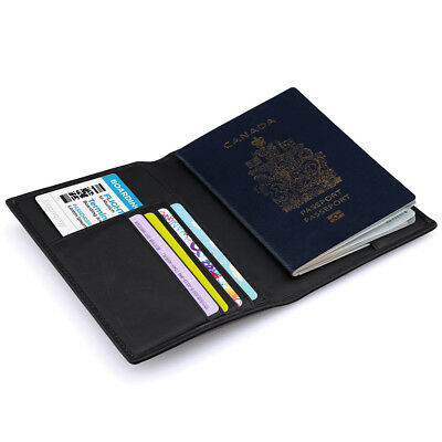 Genuine Leather Passport Cover ID Business Card Holder Travel Credit Wallet
