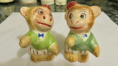 Very Old Vintage Monkey Salt & Pepper Shakers - Hand Painted  Made In Japan