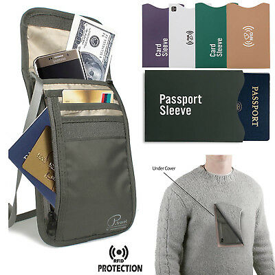 e9503f656f2e PASSPORT HOLDER TRAVEL Neck Wallet ID Documents Pouch RFID Blocking ...