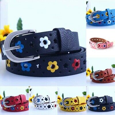 Candy Color Flower PU Leather Kids Girls Toddler Waistband Butterfly Belt Buckle
