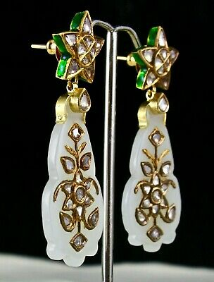 Antique Old Real Nephrite Jade Flat Diamond 18K Gold Jadau Statement Earring