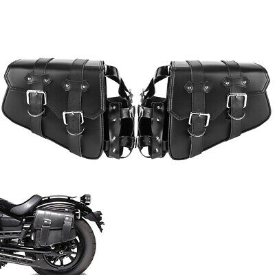 Saddle Bag Black Leather W/ Fuel Oil Fuel Bottle Cup Holder For Harley Yamaha