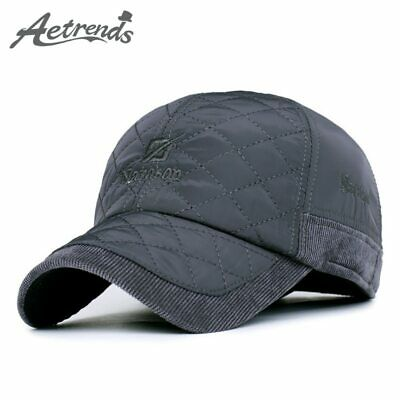 [AETRENDS] Mens Caps and Hats Winter Brand Baseball Cap with Ears and Corduroy