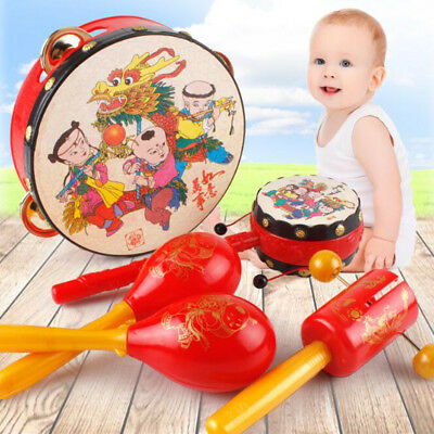 Exquisite Red Drums Rattle Chinese Traditional Infant Baby Hands Bells Kids Gift