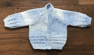REDUCED NEW Hand Knitted Baby Cardigan In Blue Mix Colour Yarn Size - 0-3 Months