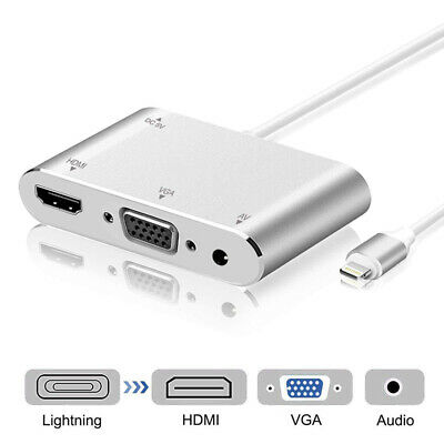 Lightning to HDMI VGA Jack Audio TV Adapter Cable for iPad iPhone X 8 7 7 Plus 6