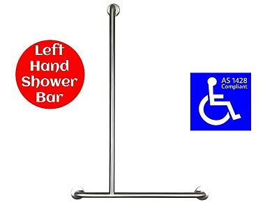 SHOWER GRAB BAR T for LEFT HAND HANDICAP HANDRAIL SAFETY RAIL AS1428.1