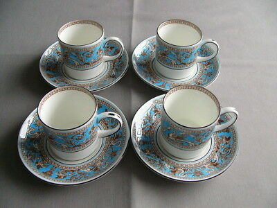 4 x Wedgwood Turquoise Florentine Coffee Cups and Saucers - Superb - (B)