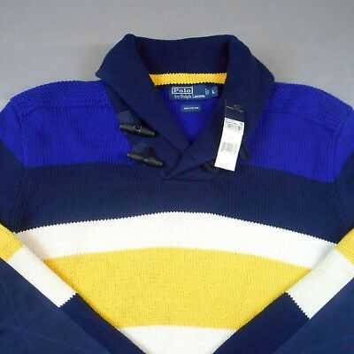 Vtg Polo Ralph Lauren Striped Shawl Toggle Collar Men's Yacht Club Sweater Large
