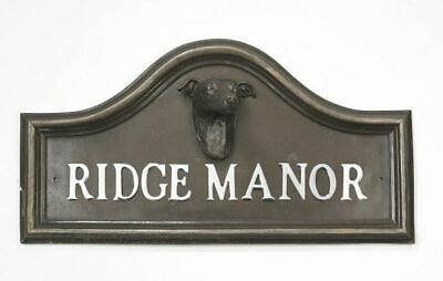 Bronze Finish Greyhound Arched House Name Plaque