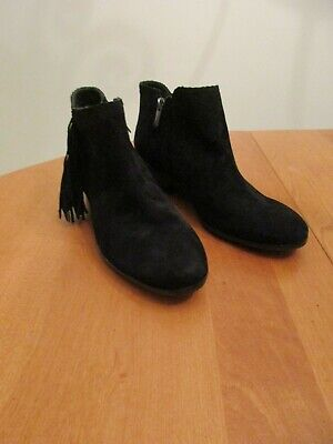 e2871b484 Sam Edelman Women s Paige Black Ankle Boots Zip Up With Fringe Size 7.5M  NICE!