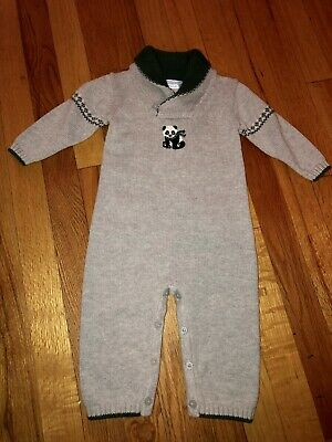 Baby Boys Janie & Jack Grey Green Panda Sweater Romper Outfit 6-12 Months NWOT