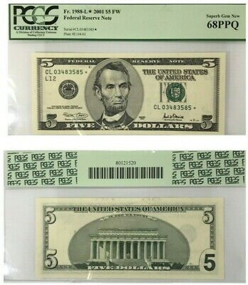 2001 $5 Federal-Reserve-Star-Note-PCGS-Superb-Gem-New-68-PPQ 5-2001-Federal-Rese