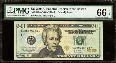 2004 $20 Federal-Reserve-Star-Note-PCGS- UNC Gem A1 Boston Note