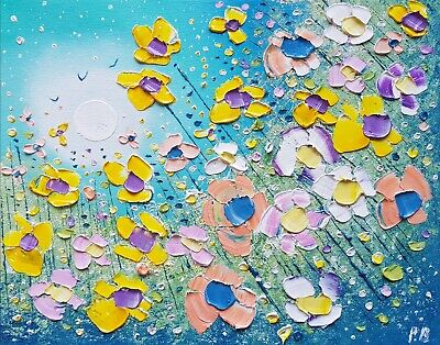 Magic Star & Flowers in Love, an original oil painting on canvas, by Phil Broad