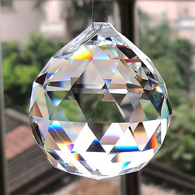 20mm Clear Crystal Lighting Ball Prisms Hanging Pendant Wedding Curtain Decor Oa