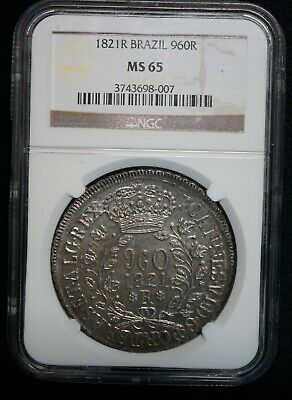 NGC Graded MS65 Brazil 1821-R 960 Reis - GEM UNC Silver Coin