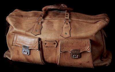 Vintage Distressed Tan Leather Overnight Travel Duffle Weekend Large Holdall Bag