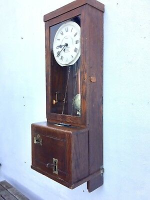 Vintage Gledhill Brook Fusee Clocking In Factory Time Recorder wall clock fusee