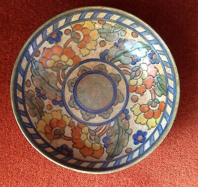 Rare Charlotte Rhead 3-footed bowl, 1930s Crown Ducal, Byzantine pattern