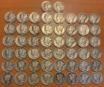 1916 - 1945 Mercury Silver Dimes 1  Roll AG-EF+.  50 Coins Hand Picked Mixed Lot
