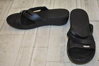 27b904bbc8490 CROCS WOMEN S SANDALS Size 8 Patricia Taupe Wedge Strap Slide On ...