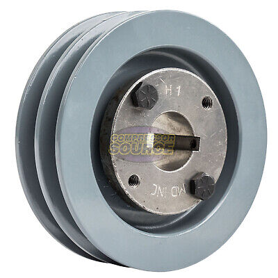 """Cast Iron 4.5"""" 2 Groove Dual Belt A Section 4L Pulley With 1"""" Sheave Bushing"""