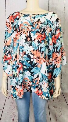 64631ce55e3 CJ Banks Womens Plus Size 3X Floral Print Scoop Neck 3 4 Sleeve New Tunic