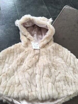 Baby Girls Beige Faux Fur Cape Poncho 3-6 Months New Florence And Fred Tesco